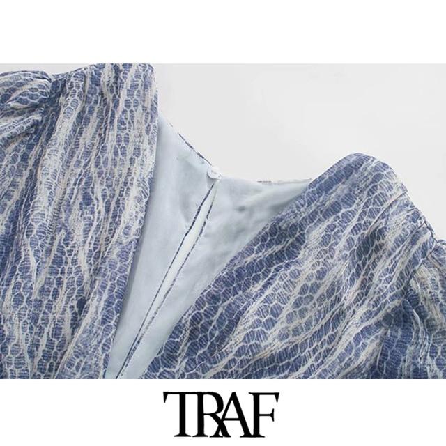 TRAF Women Chic Fashion Animal Print Asymmetric Draped Mini Dress Vintage Long Sleeve Ruffled Female Dresses Mujer 3