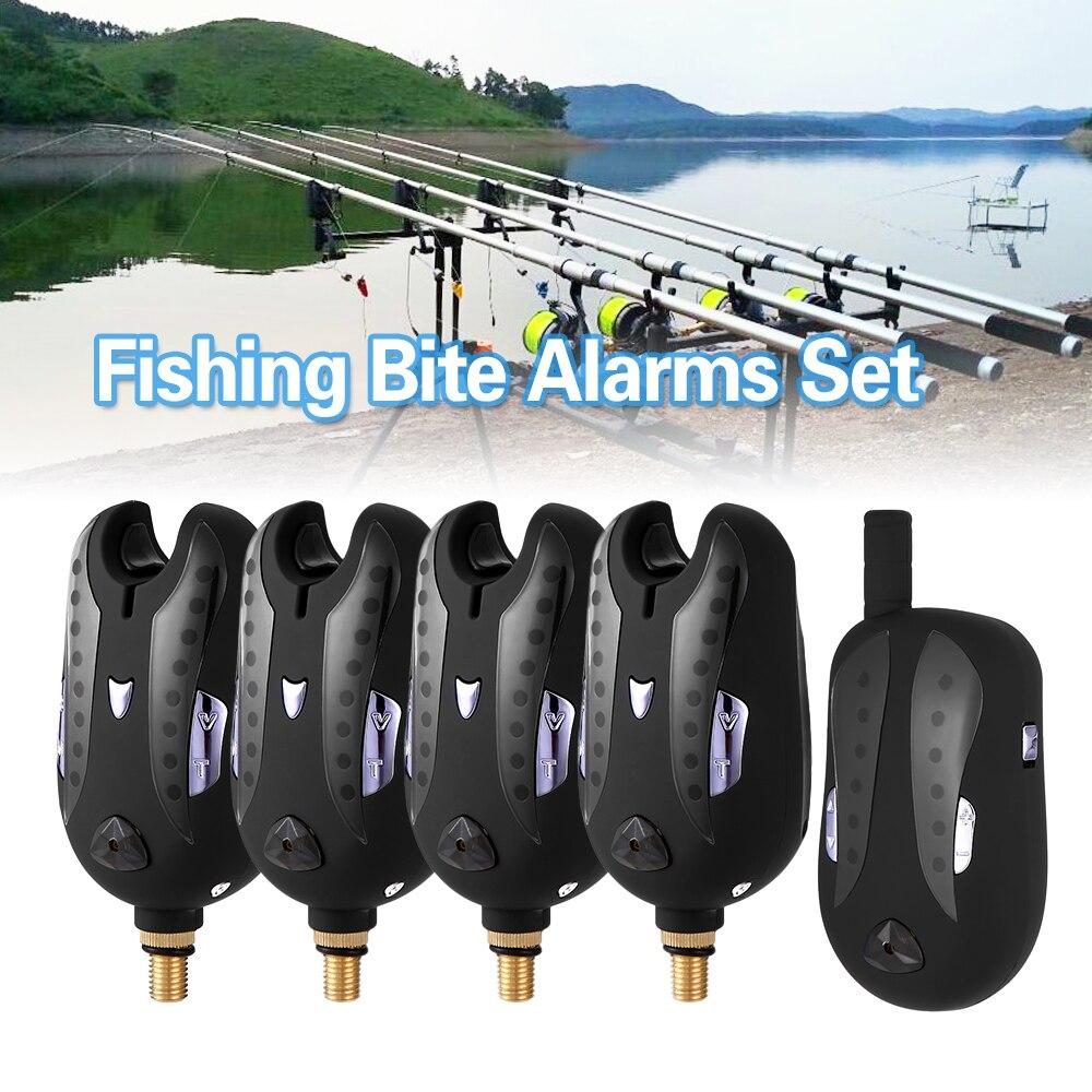 Lixada 5 Size Wireless Electronic Fishing Bite Alarm Set Fishing Receiver Sound Alert Kit Led Alarm Indicator With Zippered Case