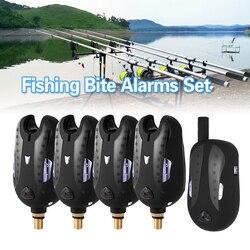 Lixada 5 tamanho sem fio eletrônico alarme da mordida de pesca conjunto receptor pesca kit alerta de som led indicador alarme com zíper caso