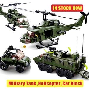Sluban Amphibious Tank Army Predator Helicopter Armored Vehicle Car Building Block Compatible DIY Military Toys Bricks Gifts