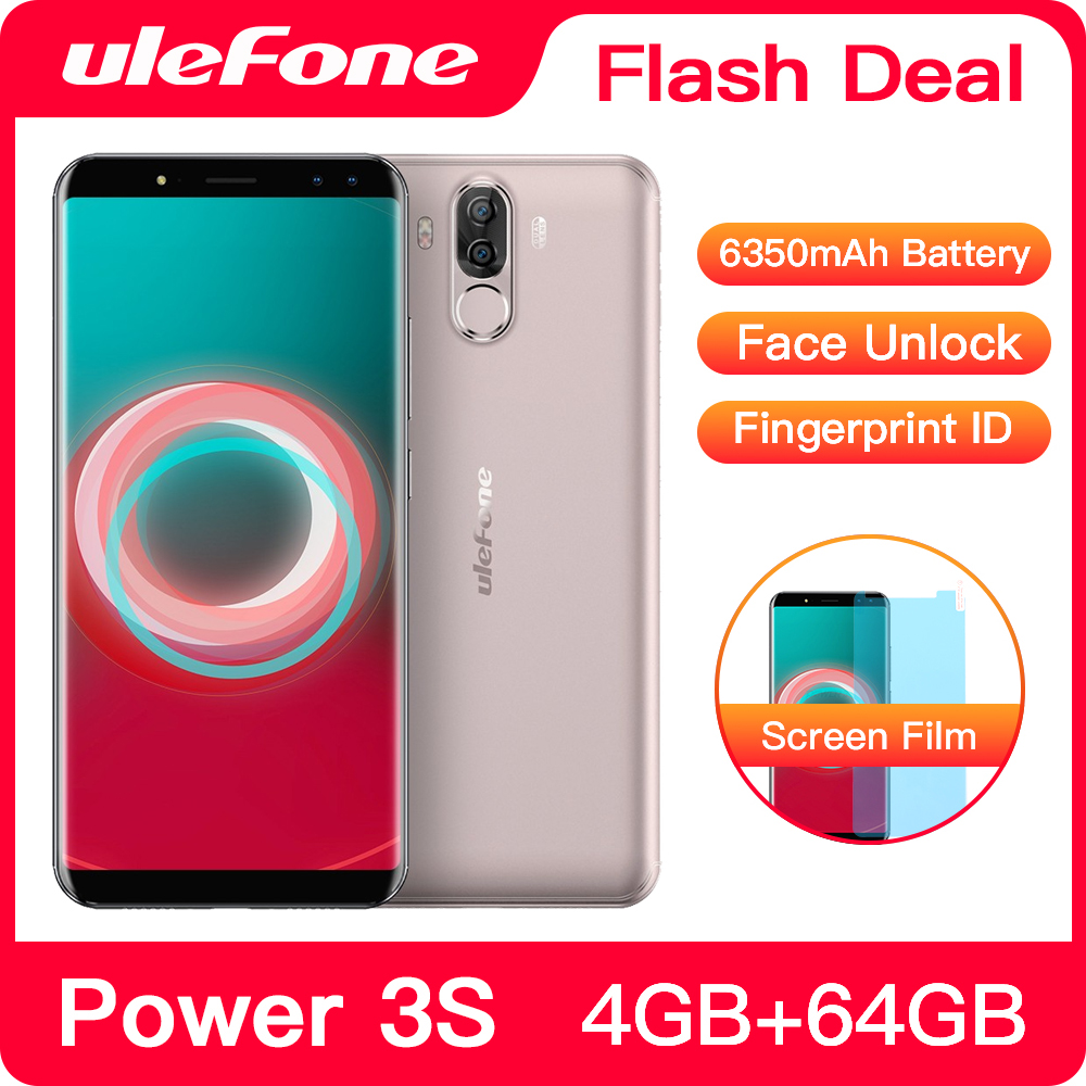 """Ulefone Power 3S 6.0"""" 18:9 FHD+ Mobile Phone MTK6763 Octa Core Android 8.1 4GB+64GB 16MP 4 Camera 6350mAh Face ID 4G Smartphone(China)"""