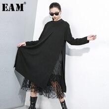 [EAM] женское черное Сетчатое платье в горошек с разрезом, новинка, воротник-стойка, длинный рукав, свободный крой, мода, весна-осень, 1B593