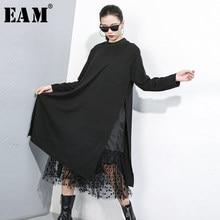 [EAM] abito da donna con spacco a pois in maglia nera nuovo colletto alla coreana manica lunga allentato moda marea primavera autunno 2021 1B593
