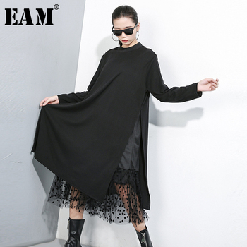 [EAM] Women Black Mesh Dot Split Joint Dress New Stand Collar Long Sleeve Loose Fit Fashion Tide Spring Autumn 2019 1B593