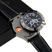 Charging Cigarette Lighter Watch For Man Metal USB Lighter Pu Leather Strap Encendedor Lighters Esqueiro Cakmak Electronicos jobon stylish oil lighter with leather strap red
