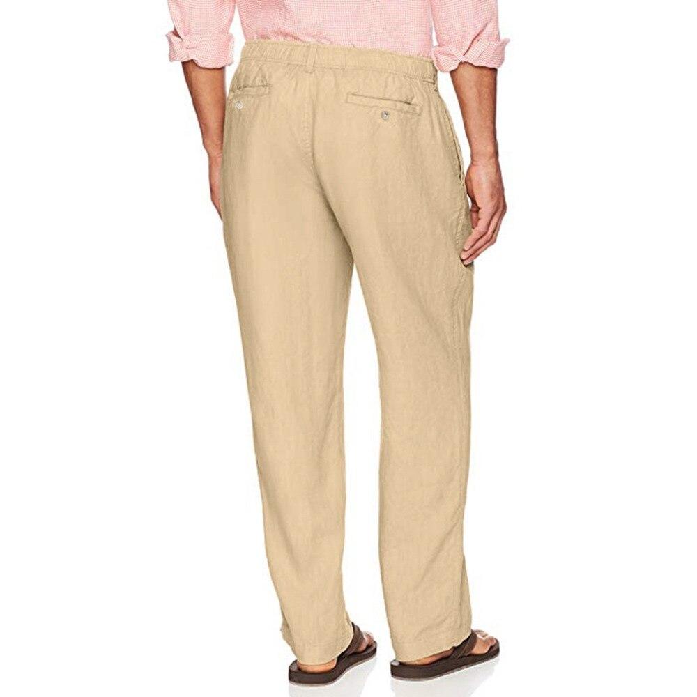 Hc10c14b9dc6e48c09882d4a131ab2d0ap Feitong Fashion Cotton Linen Pants Men Casual Work Solid White Elastic Waist Streetwear Long Pants Trousers