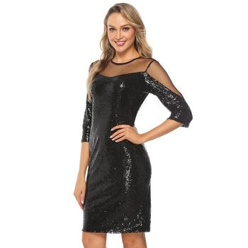 YIDINGZS Elegant Short Evening Dresses Simple Black Sequins Evening Party Dress YD2317 5