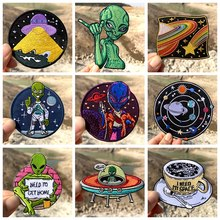 Prajna estrangeiro remendo ufo remendos para roupas de ferro em hippie desenhos animados bordados remendos para roupas espaço ao ar livre crachá aplique