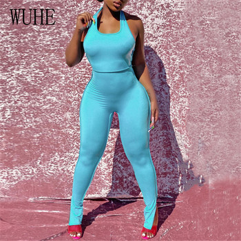 WUHE Sexy Halter Backless Bodycon Jumpsuit Open Back Women Streetwear Outfits Hollow Out Club Party Bandage Stretchy Romper white open back hollow design halter sleeveless sexy jumpsuit