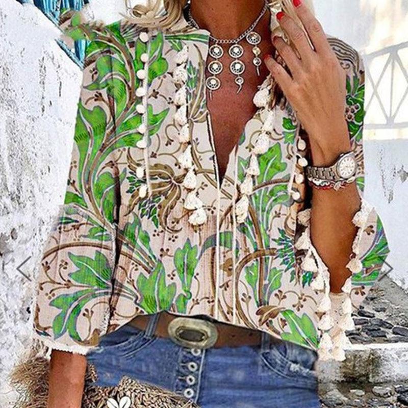 Boho Blouse Elegant V Neck Tassel Women Tops Sexy Three Quarter Sleeve Floral Print Shirt 2020 Spring Autumn Chic Blouses S-2XL 6