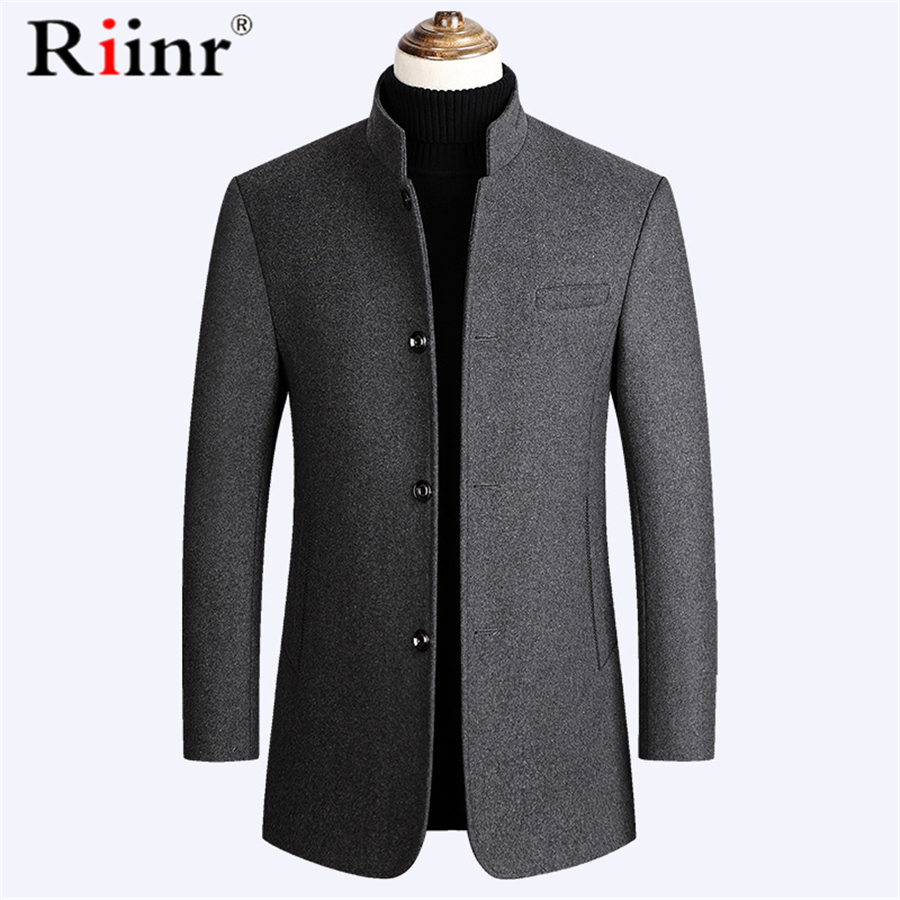 Riinr Brand Men Wool Blends Coat Stand Collar New Solid Color High Quality Men's Wool Coat Luxurious Wool Blends Coat Male M-3XL