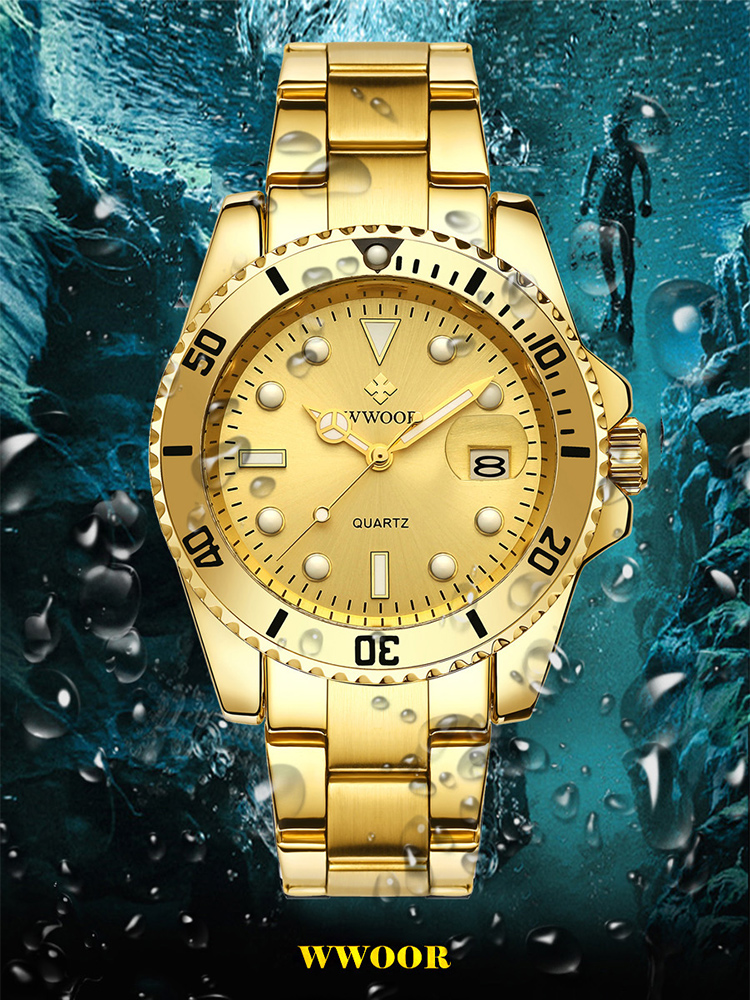 WWOOR Gold Watch Men 2020 Luxury Golden Full Steel Sport Quartz Watches For Men Luminous