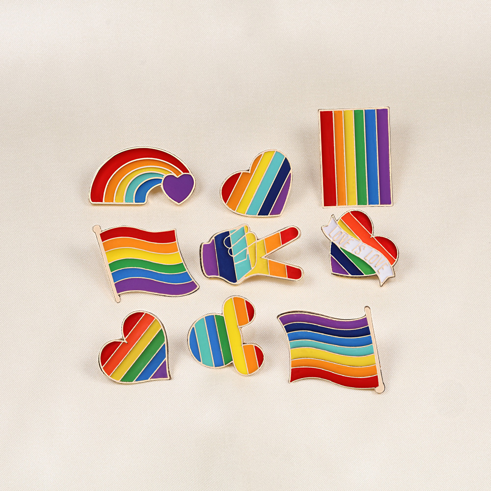 9 Style LGBT Design Rainbow Creative Heart Yeh Finger Pin Brooch Metal Pins Badge Denim Enamel Lapel Jewelry Gift women unsix