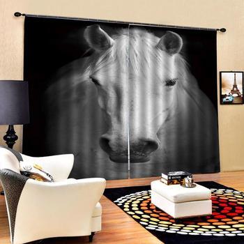 black white horse curtains 3D Curtain Luxury Blackout Window Curtain Living Room Blackout curtain