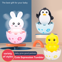 Baby cartoon tumbler rattle sand beads mini cute toy boy girl enlightenment parent-child interaction