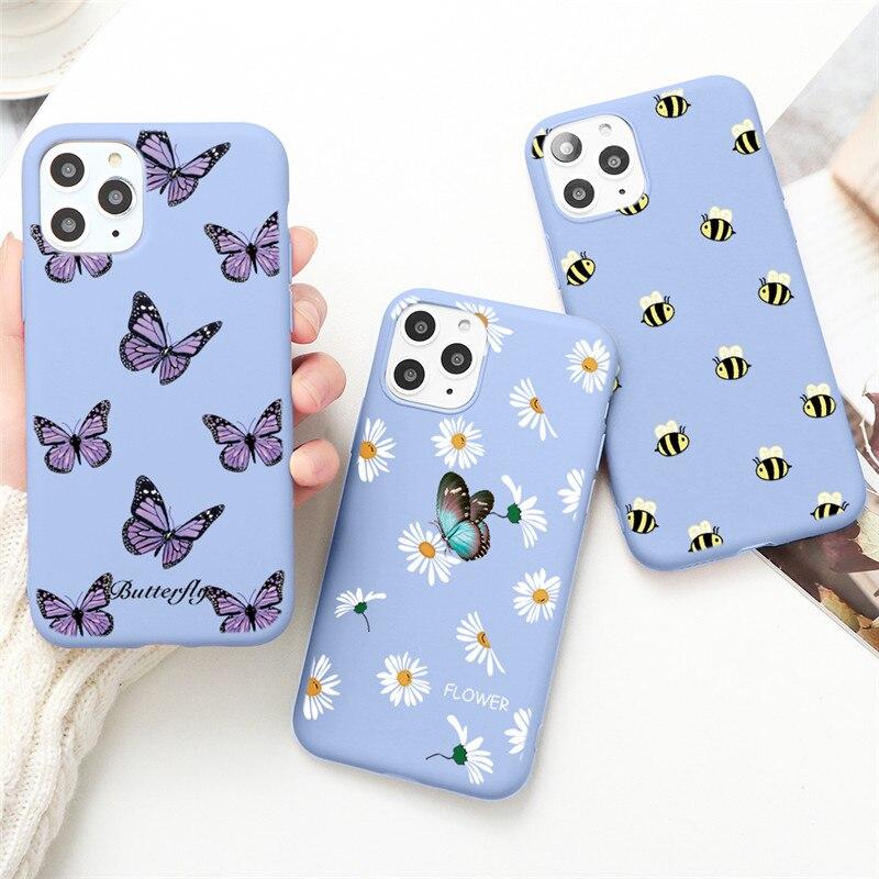 Funda mariposa para teléfono para iPhone 12 Mini XS 11 Pro Max X XR 5 SE 2020 7 8 6S Plus funda colorida suave de silicona TPU