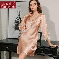 New Summer 100% genuine silk nightgowns women sexy sleepdress fashion V Neck Mulberry silk nightdress woman sleepwear S82008