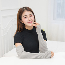 Зимние длинные женские перчатки без пальцев, Вязаные белые черные перчатки для женщин, женские однотонные теплые перчатки с крагами rekawiczki