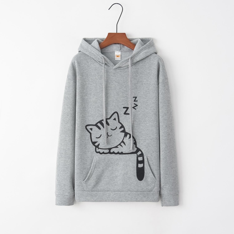 Cat Animal 2020 New Design Hot Sale Hoodies Sweatshirts Women Casual Kawaii Harajuku Sweat Girls European Tops Korean