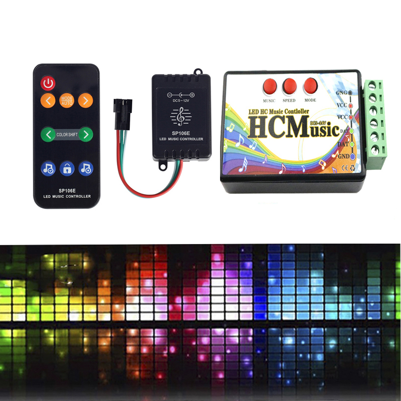 SP106E RF 9keys LED Music Controller DC5V-12V WS2811/WS2812 /6812/1903/Magic LED Tape Digital Colorful Music SPI Controller