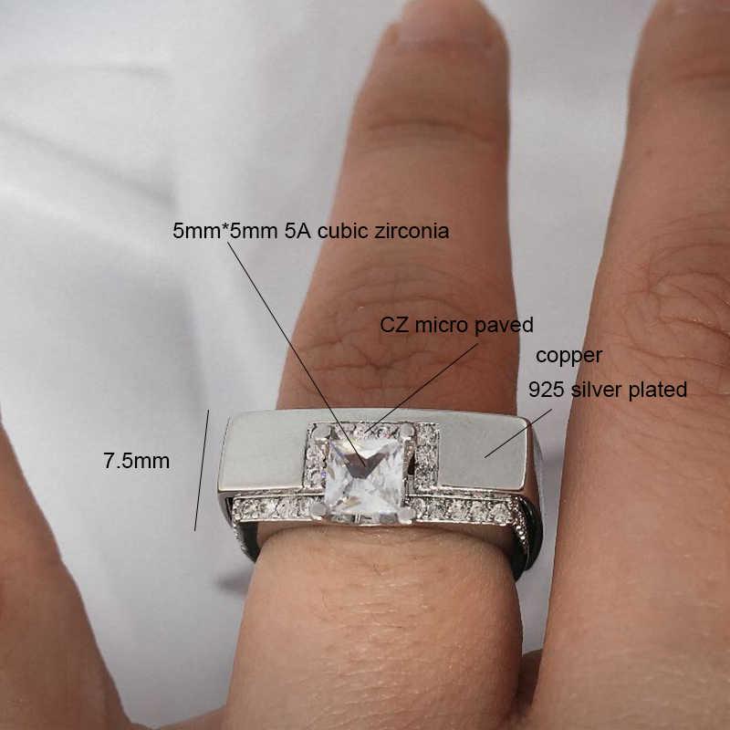 2019 femmes bague de fiançailles Alliance paire ensemble carré princesse anneaux de mariage Zircon Micro pavé couleur argent amour bijoux DDR075