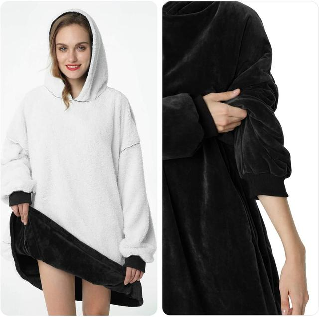 Oversized Hoodie Blanket With Sleeves Sweatshirt Plaid Winter Fleece Hoody Women Pocket Female Hooded Sweat Oversize Femme 4