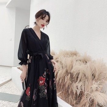 Robe De Soiree Party Dress ES3115 Elegant A Line V Neck Floral Print Evening Dress Long Spring Boho Dress Vestido De Festa