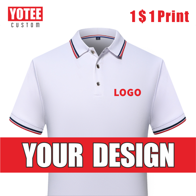 YOTEE Summer Cheap Short Sleeve Logo Custom Company Group Polo Shirt Logo Embroidered Top