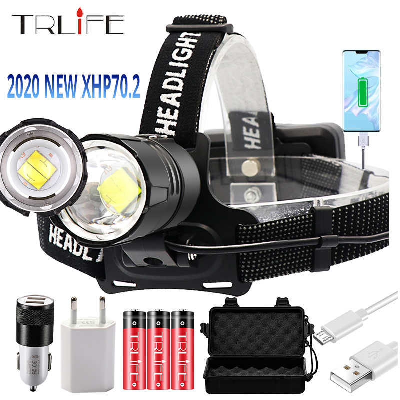 8000LM Super Bright XHP70 2 USB Rechargeable Led Headlamp XHP70 Headlight Hunting Cycling Lanterna Waterproof Use 3x18650
