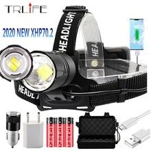 Lampe frontale Super brillante imperméable à utiliser pour la chasse, cyclisme, 3x18650, 8000lm XHP70.2 Led Rechargeable par USB