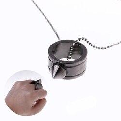 Tungsten Staal Zelfverdediging Levert Ring Vrouwen Mannen Veiligheid Survival Vinger Ring Met Ketting Tool