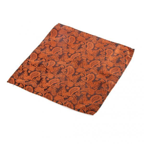 Men's Peiris Pattern Pocket Square Hankie Hanky Handkerchief Brown