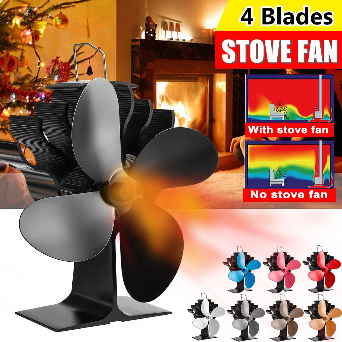 Black 4 Blades Heat Powered Stove Fan Log Wood Burner Ecofan Quiet Black Home Fireplace Fan Efficient Heat Distribution