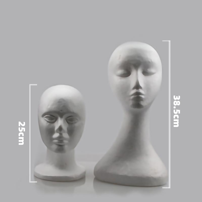 Polystyrene Styrofoam Foam White Head Model For Men And Women /Female Mannequin Head Wigs Glasses Cap Display Holder Stand Model