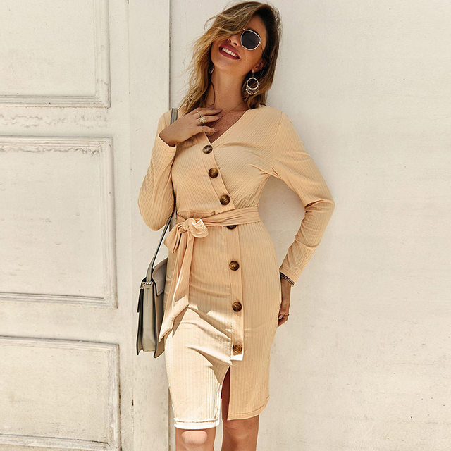 Sexy V Neck Autumn Long Sleeve Women Knitted Sweater Dress 2019 Solid Leisure Sashes Bodycon Button Midi Party Dress Robe Femme 1