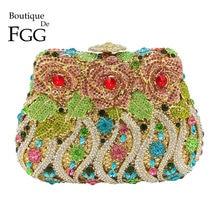 Boutique De FGG Multi Crystal Flower Rose kobiety kryształowa torebka wieczorowa kopertówka ślubne diamentowe sprzęgło wesele Minaudiere