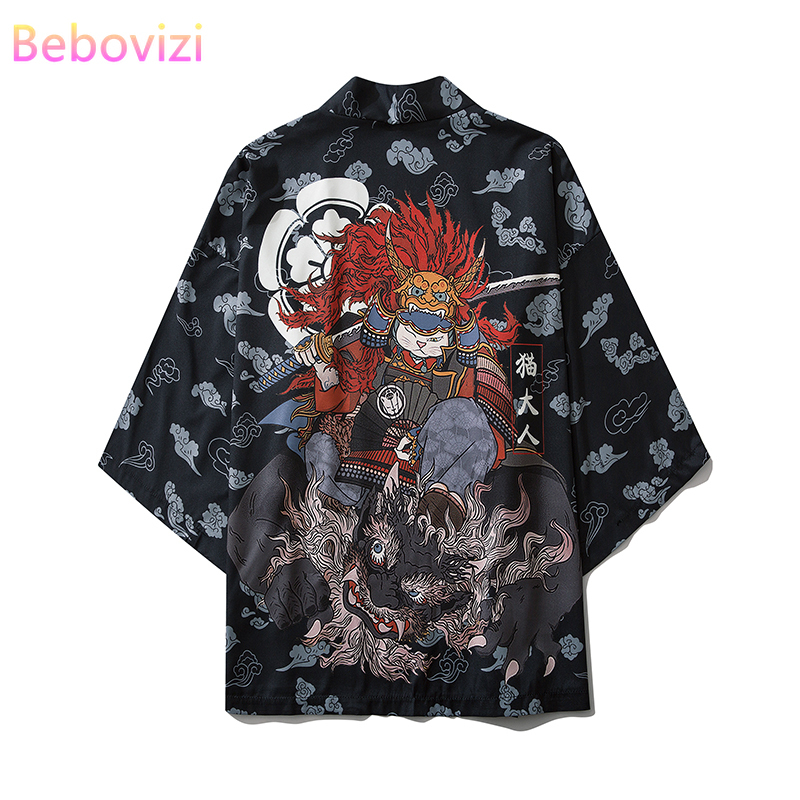 2020 Harajuku Japanese Fashion Kimono Men And Women Cardigan Shirt Blouse Haori Obi Asian Clothes Samurai Male