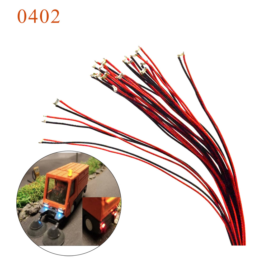 5pcs 1.5K resistor 0402 SMD model train HO N OO scale Pre-soldered micro litz wired LED leads wires 20cm image