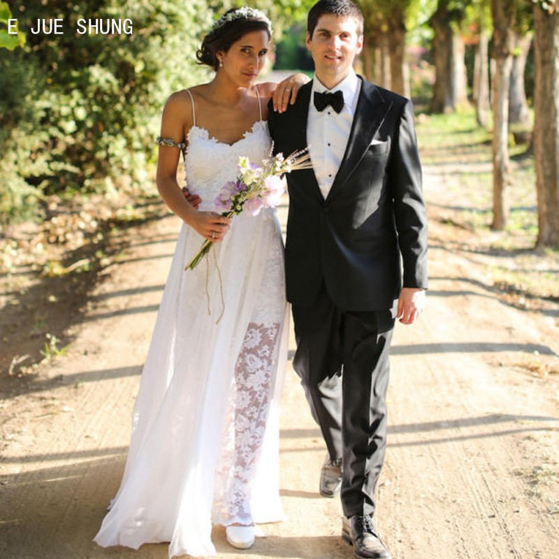 E JUE SHUNG Sexy A Line Lace Wedding Dresses Spaghetti Straps Backless Boho Wedding Gowns Beach Bridal Dresses robe de soiree