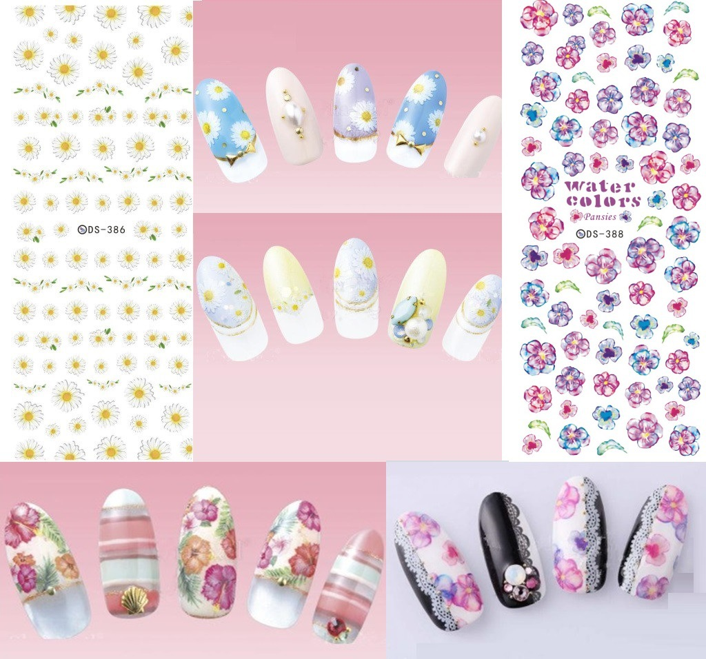 Top Form Manicure Watermarking Adhesive Paper Flower Stickers Nail Sticker Water Shift Flower Stickers DS385-392