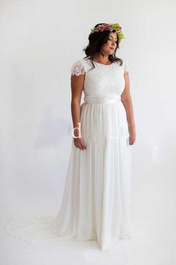 2018 Lace And Chiffon Plus Vestidos Novia Boho Court Train Beach A-Line Long Robe De Mariee Noire Mother Of The Bride Dresses