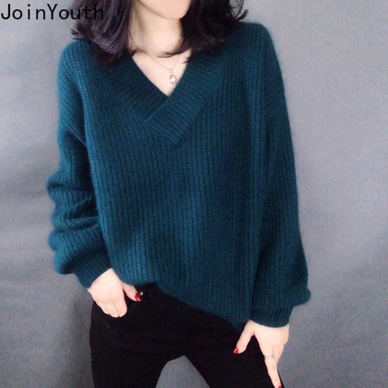 JoinYouth V Neck Solid Women Sweaters 2020 Autumn Korean Fashion Pullovers Winter Clothes Loose Warm Sueter Mujer Outwear J224