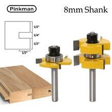 Pinkman 2pc 8 millimetri Shank Tongue & Groove Router Bit Set Lavorazione Del Legno Splicing Legno Splicing Scanalatura Fresa Rettifica di taglio