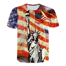 2021 Summer National Flag Men's Casual Fashion T-shirt Round Neck Cool Lightweight Slim Muscular Men's T-shirt Fitness
