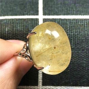 Image 4 - 100% Natural Gold Hair Rutilated Quartz Ring For Woman Lady Man Love 23x16mm Beads Silver Crystal Adjustable Ring Jewelry AAAAA