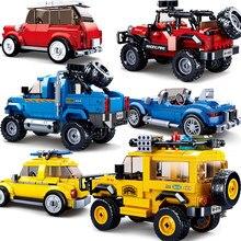 Sluban velocidade campeões cidade super racers caminhão carro kits fora de estrada blocos de corrida modelos de construção crianças brinquedos conjuntos técnicos
