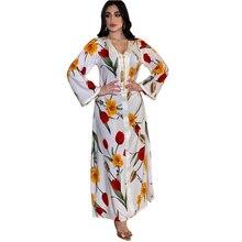 AB007 Elegant White Abaya Long Sleeves Muslim Islamic Clothing For Women To Pray Eid Dresses For Women Beautiful Print Flower
