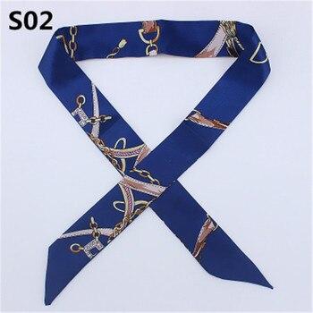 Slim Entangled Bag Handle Mini Twill Floral Scarf Handbag Accessories Tie Belt Silk Ribbon Decorative
