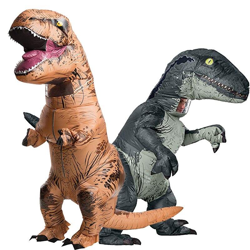 Inflatable Costume Adult Inflatable Velociraptor Costume Halloween Dinosaur T REX Costumes For Men Fancy Dress Cosplay Dinosaur