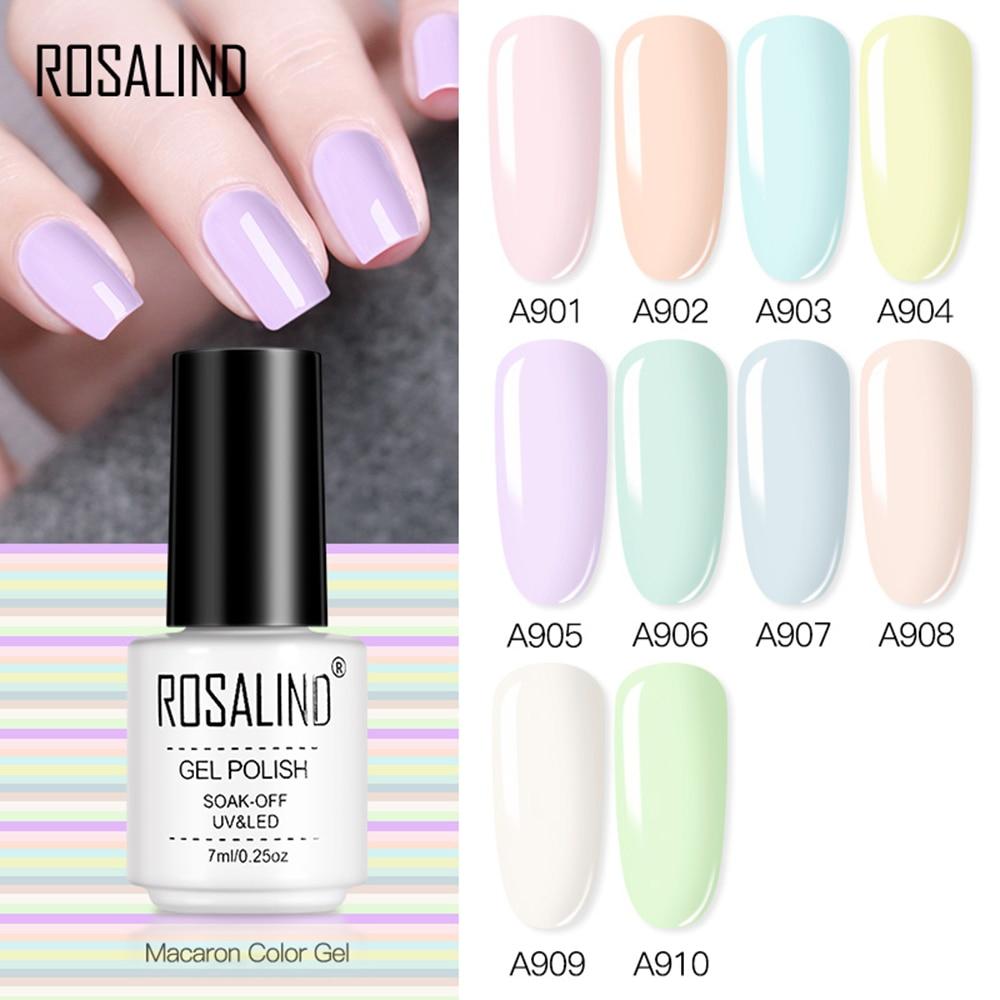 ROSALIND 7 мл гель-лаки гель лак для ногтей Макарон цвет ногтевая Пастель глянцевый гель для дизайна ногтей